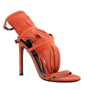 Gucci Women's Orange Suede Strappy Fringed Sandals